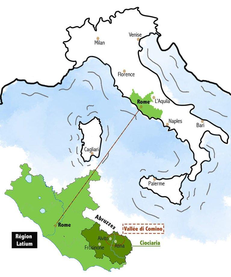 Carte Italie vallée di comino ciociaria